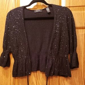 Lord & Taylor blk draw  waste sequence sweater.